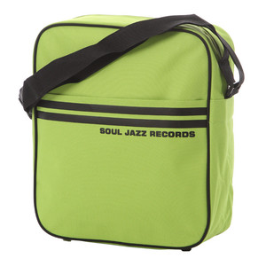 Record Bag - Soul Jazz Design, Light Green With Black Stripes, Holds 30 Vinyl LPs