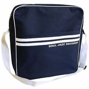 Record Bag - Soul Jazz Design, Navy Blue With White Stripes, Holds 30 Vinyl LPs